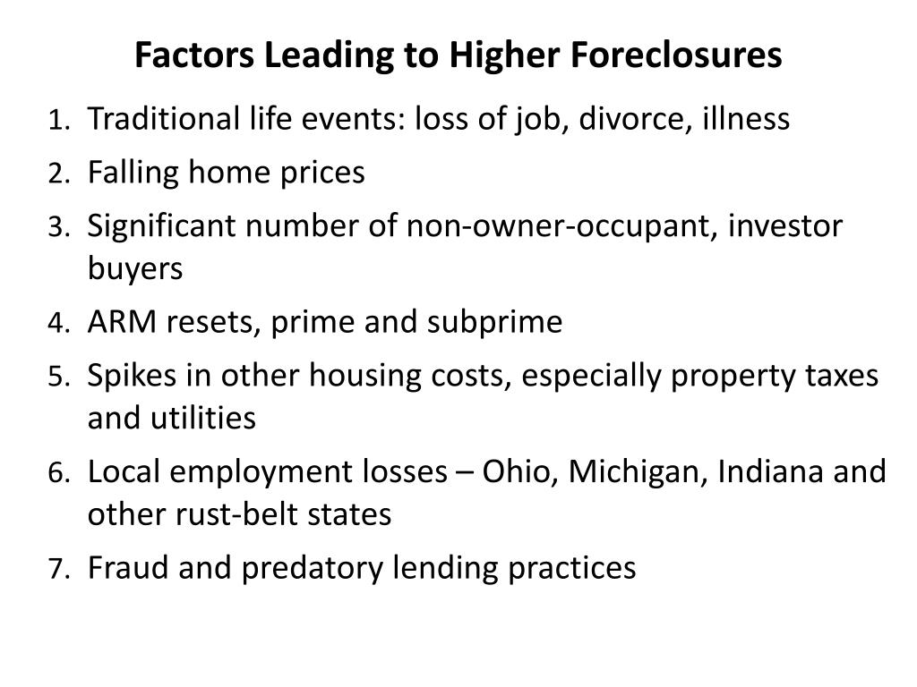 Factors Leading to Higher Foreclosures