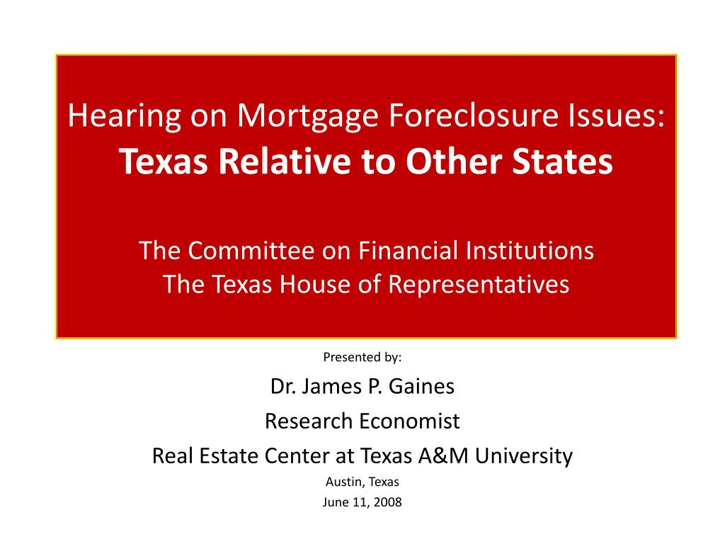 Hearing on Mortgage Foreclosure Issues: