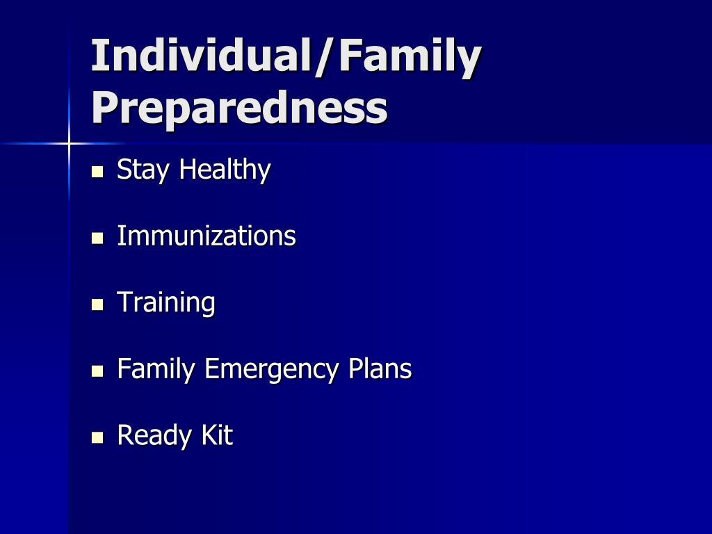 Individual/Family Preparedness