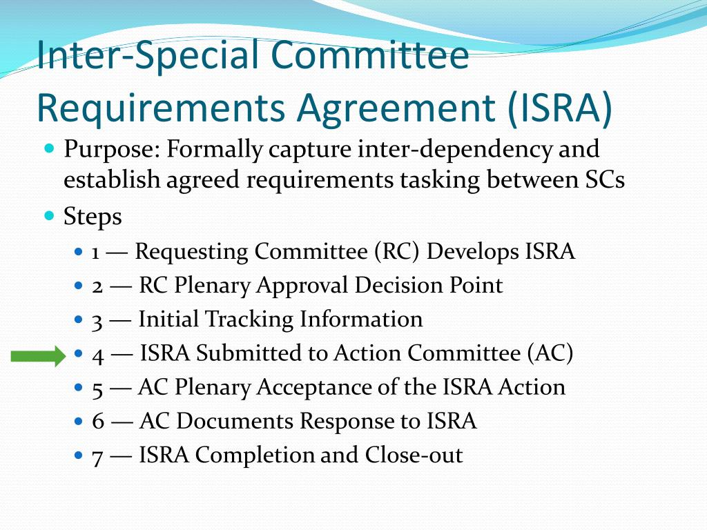 Inter-Special Committee Requirements Agreement (ISRA)