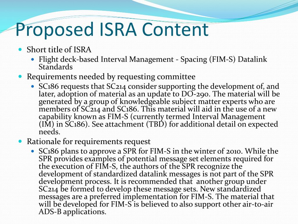 Proposed ISRA Content