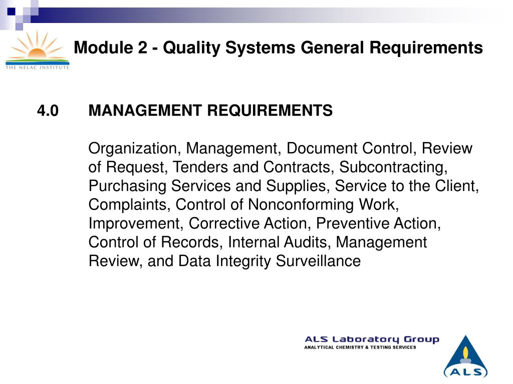 Module 2 - Quality Systems General Requirements