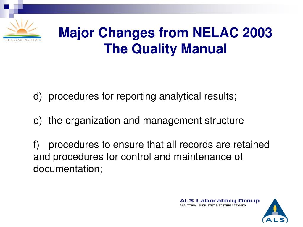 Major Changes from NELAC 2003