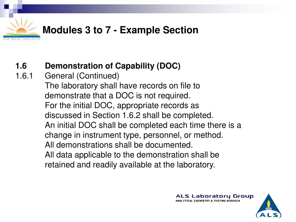 Modules 3 to 7 - Example Section
