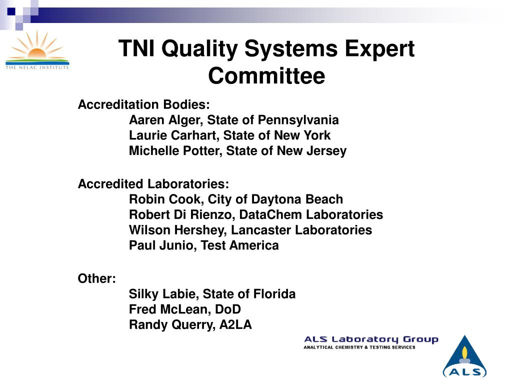 TNI Quality Systems Expert Committee