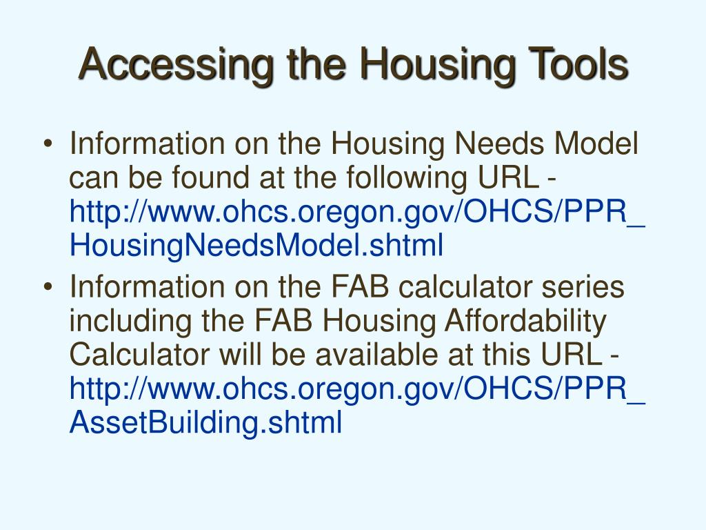 Accessing the Housing Tools