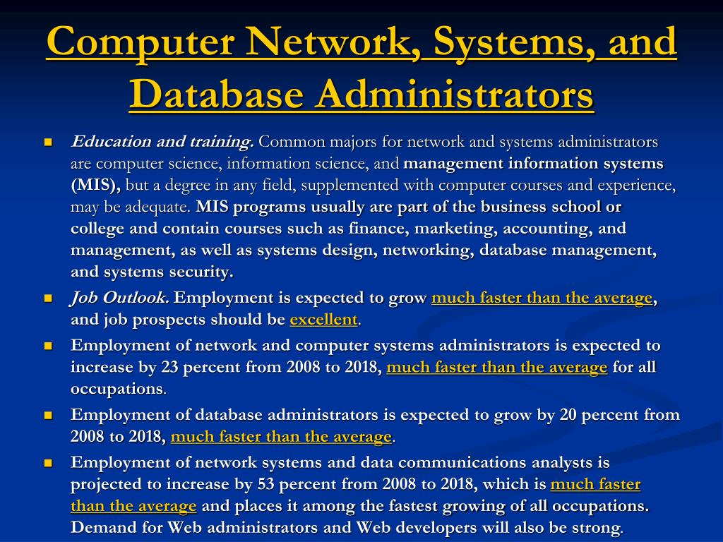 Computer Network, Systems, and Database Administrators