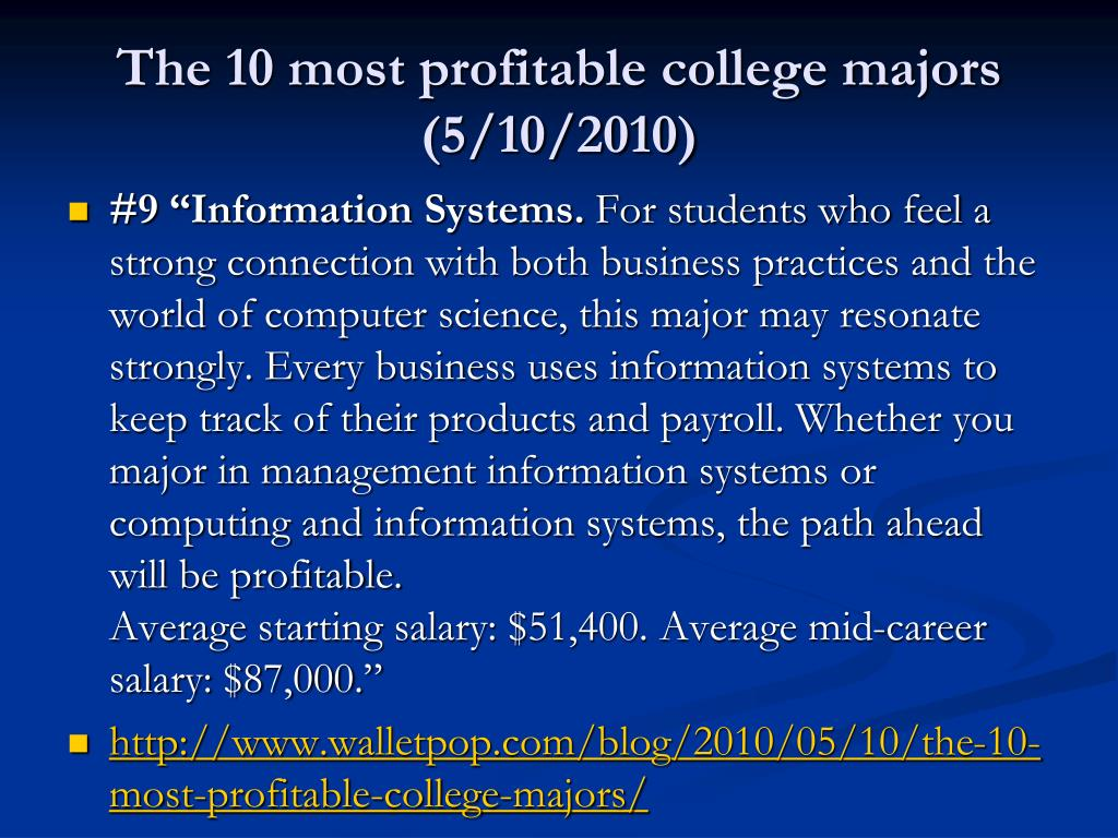The 10 most profitable college majors (5/10/2010)