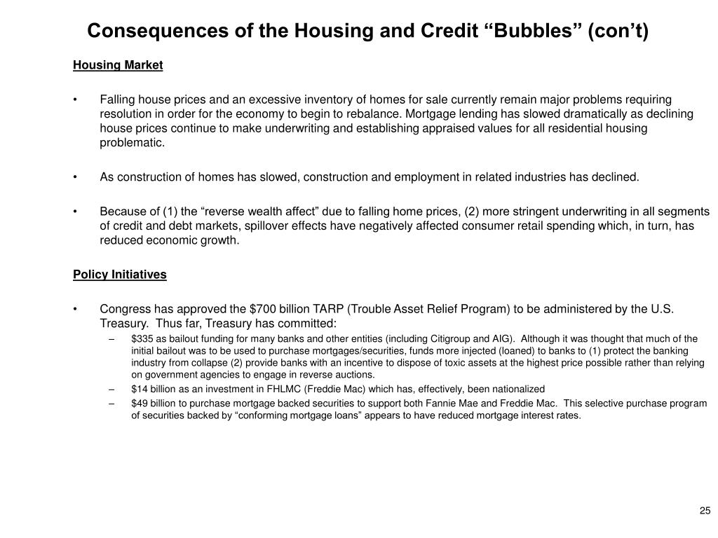 "Consequences of the Housing and Credit ""Bubbles"" (con't)"
