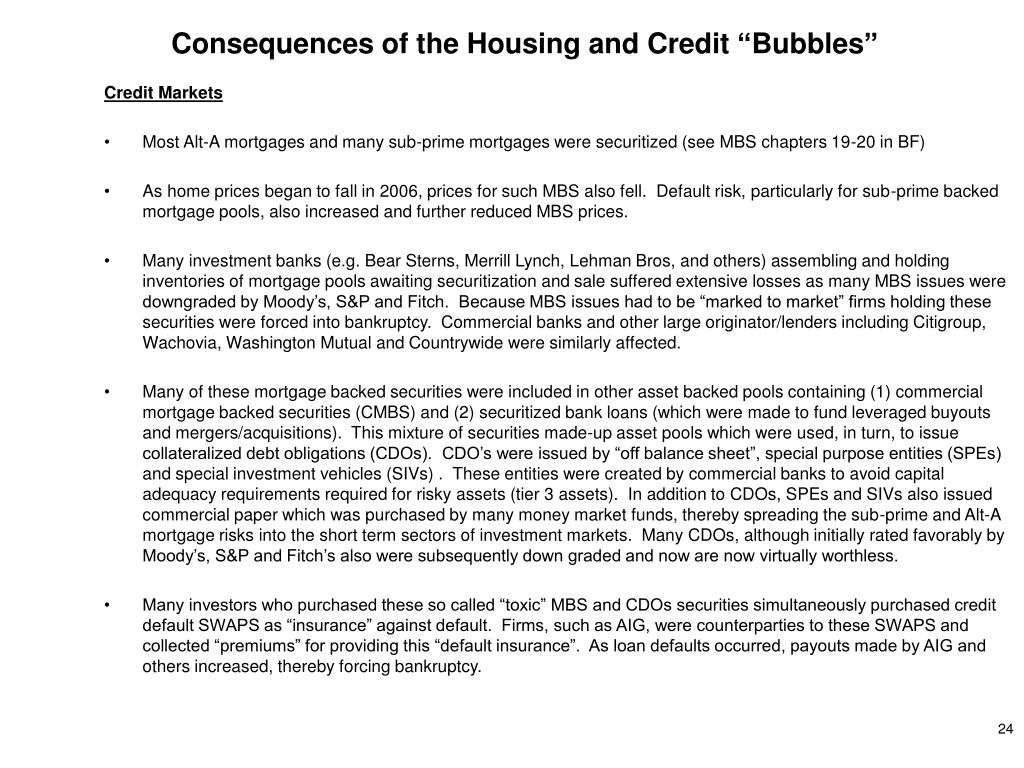 "Consequences of the Housing and Credit ""Bubbles"""