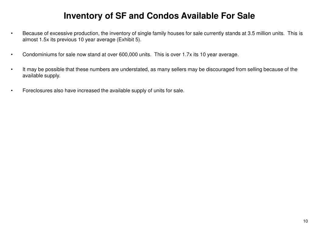 Inventory of SF and Condos Available For Sale