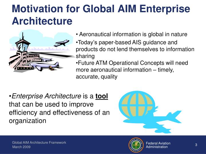Motivation for global aim enterprise architecture
