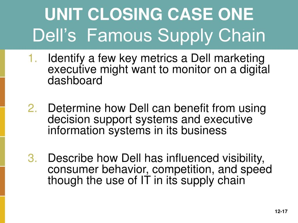 case study dell's famous supply chain Transcript of dell supply chain management reduced the product price and made dell more competitive simplified the supply chain and made it easier to control.
