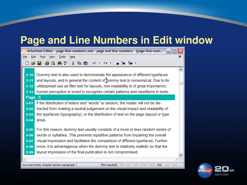 Page and Line Numbers in Edit window