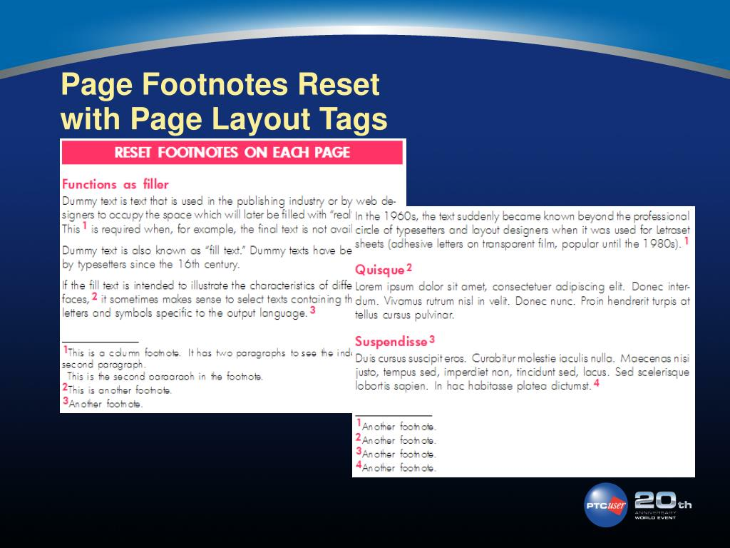 Page Footnotes Reset