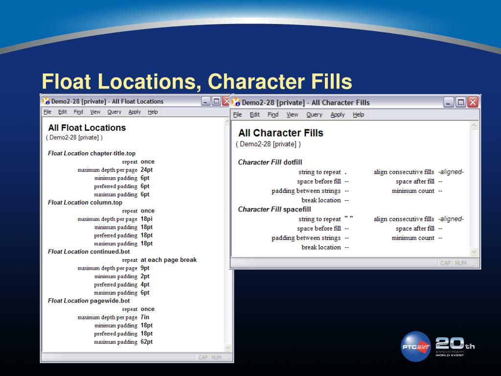 Float Locations, Character Fills