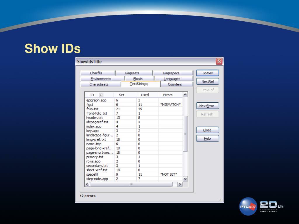 Show IDs