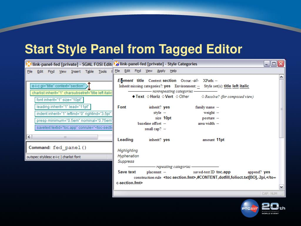 Start Style Panel from Tagged Editor