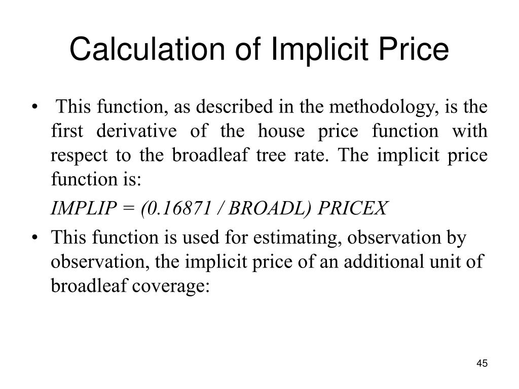 Calculation of Implicit Price