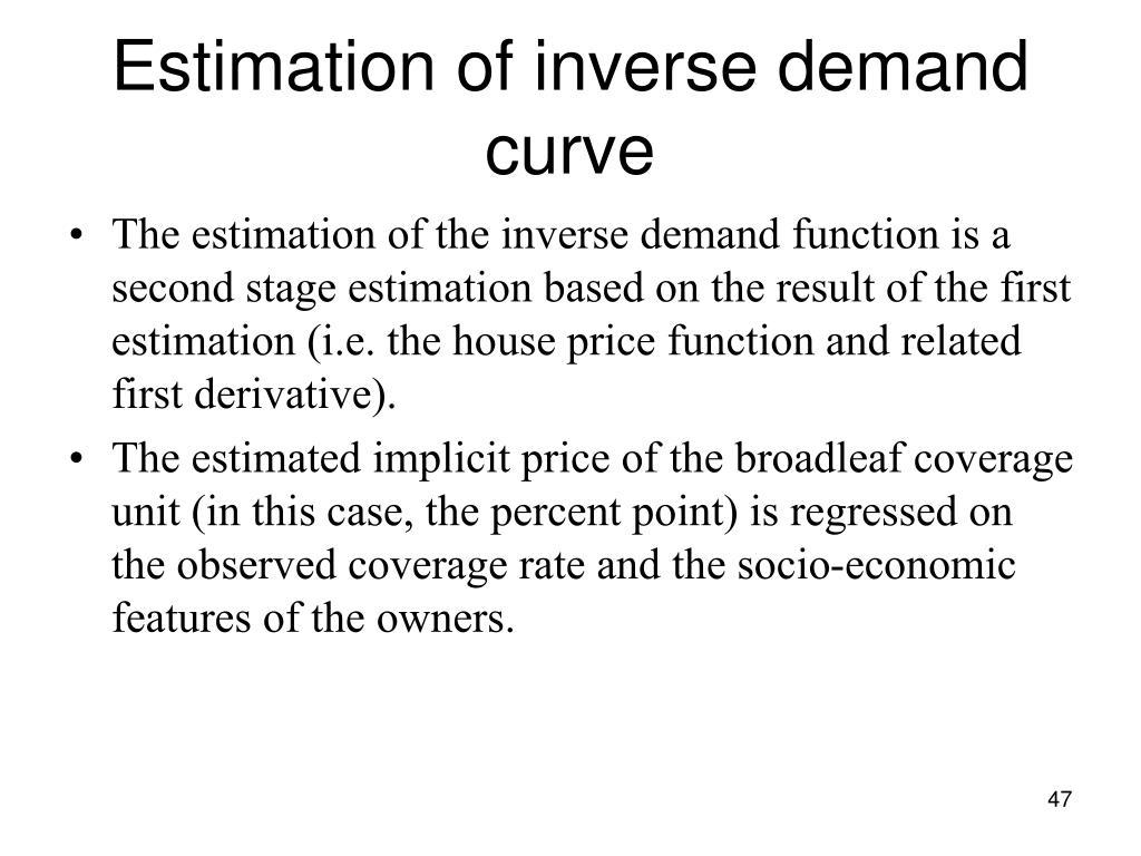 Estimation of inverse demand curve
