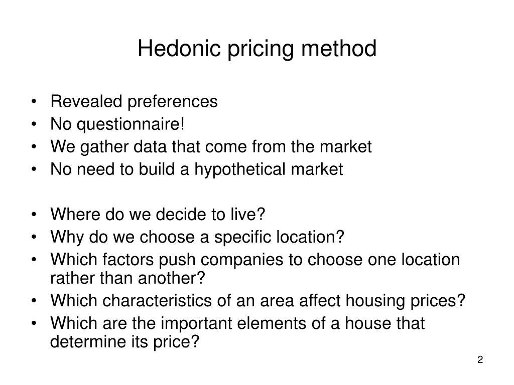 Hedonic pricing method