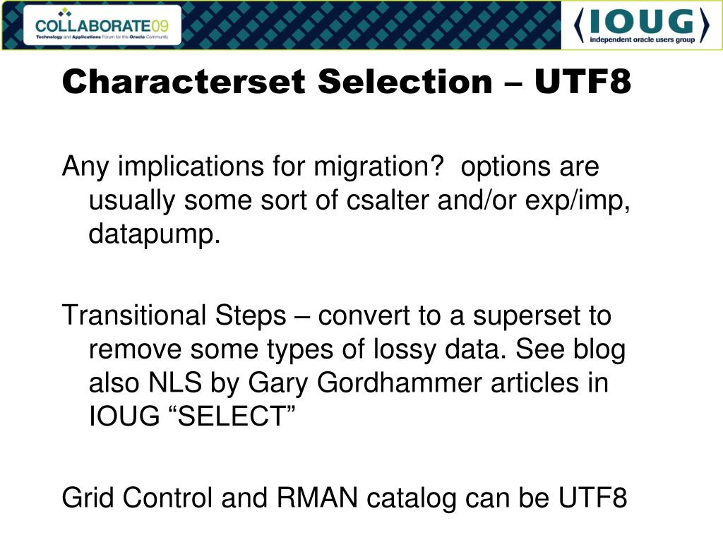 Characterset Selection – UTF8