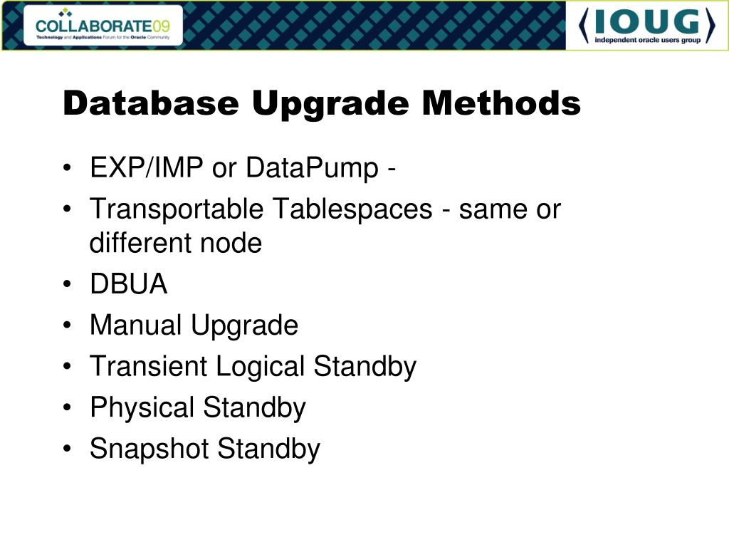 Database Upgrade Methods
