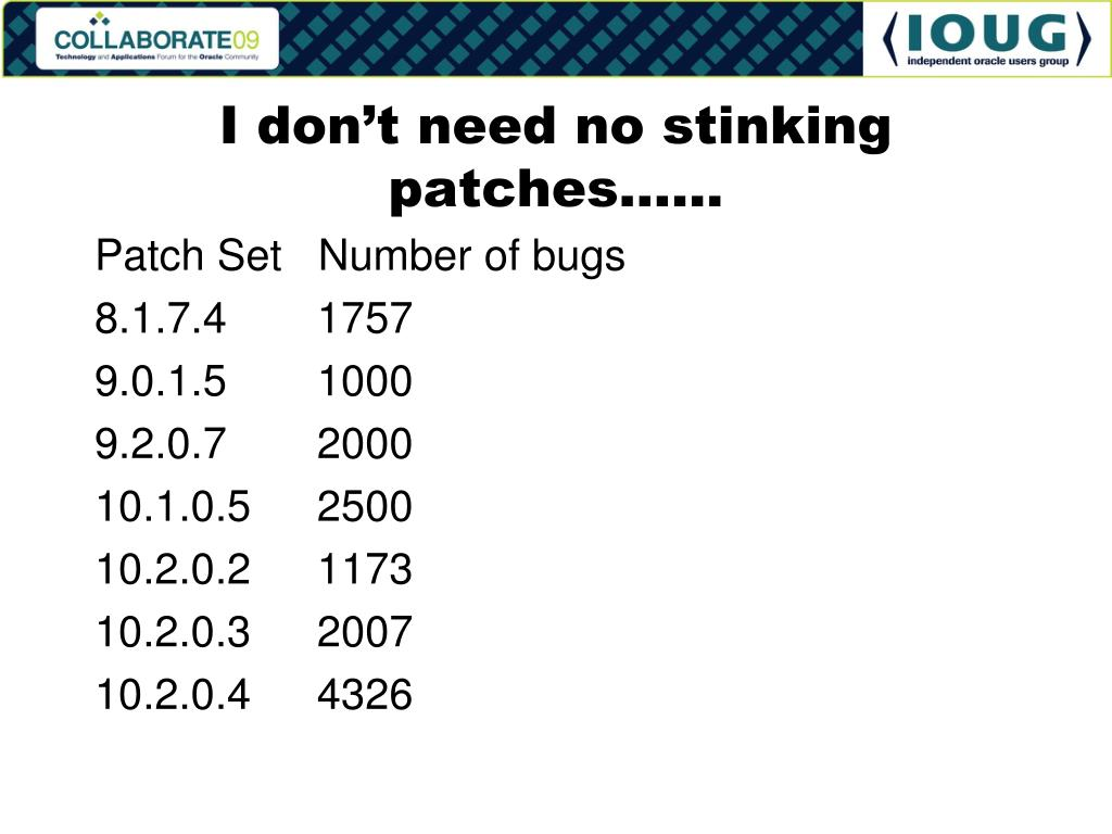 I don't need no stinking patches……
