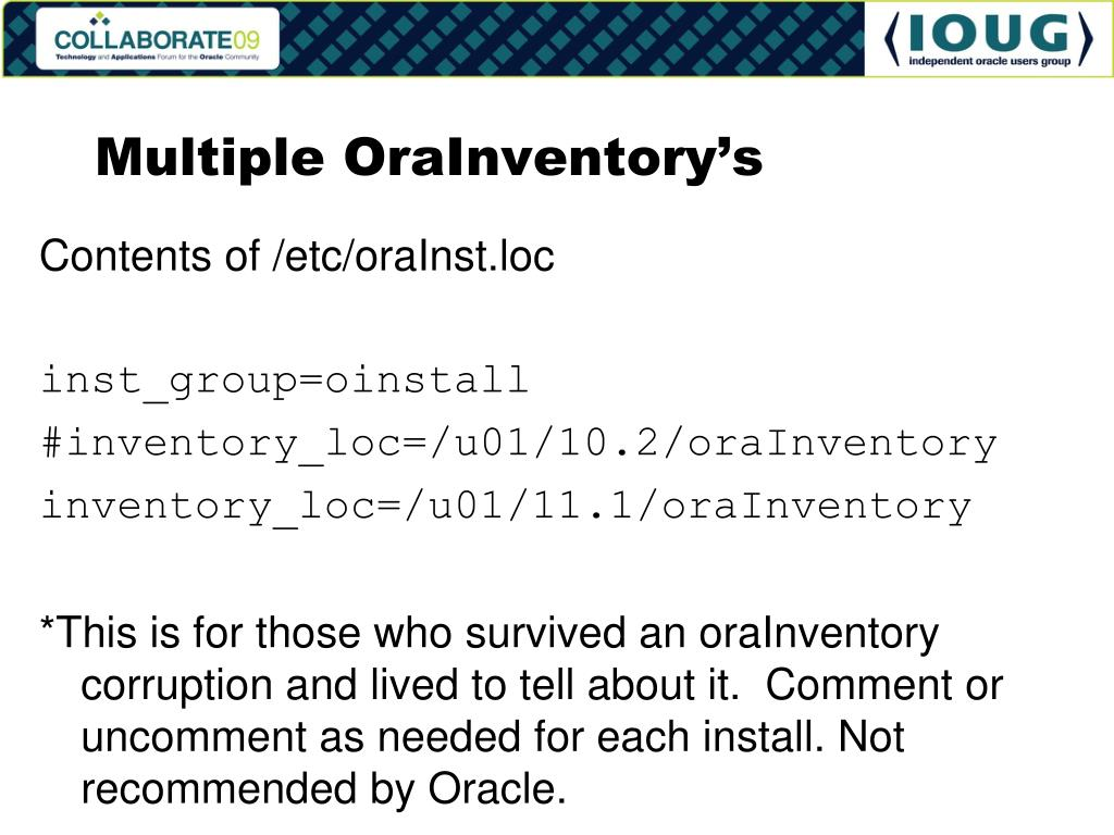 Multiple OraInventory's