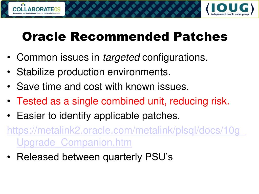 Oracle Recommended Patches