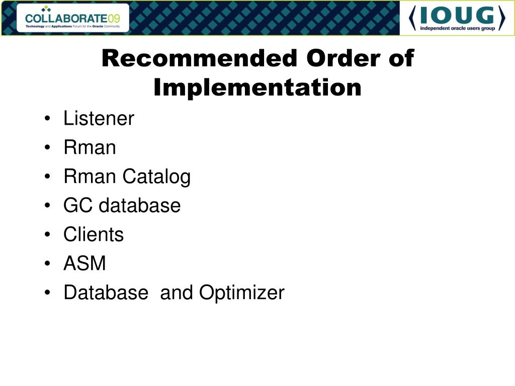 Recommended Order of Implementation