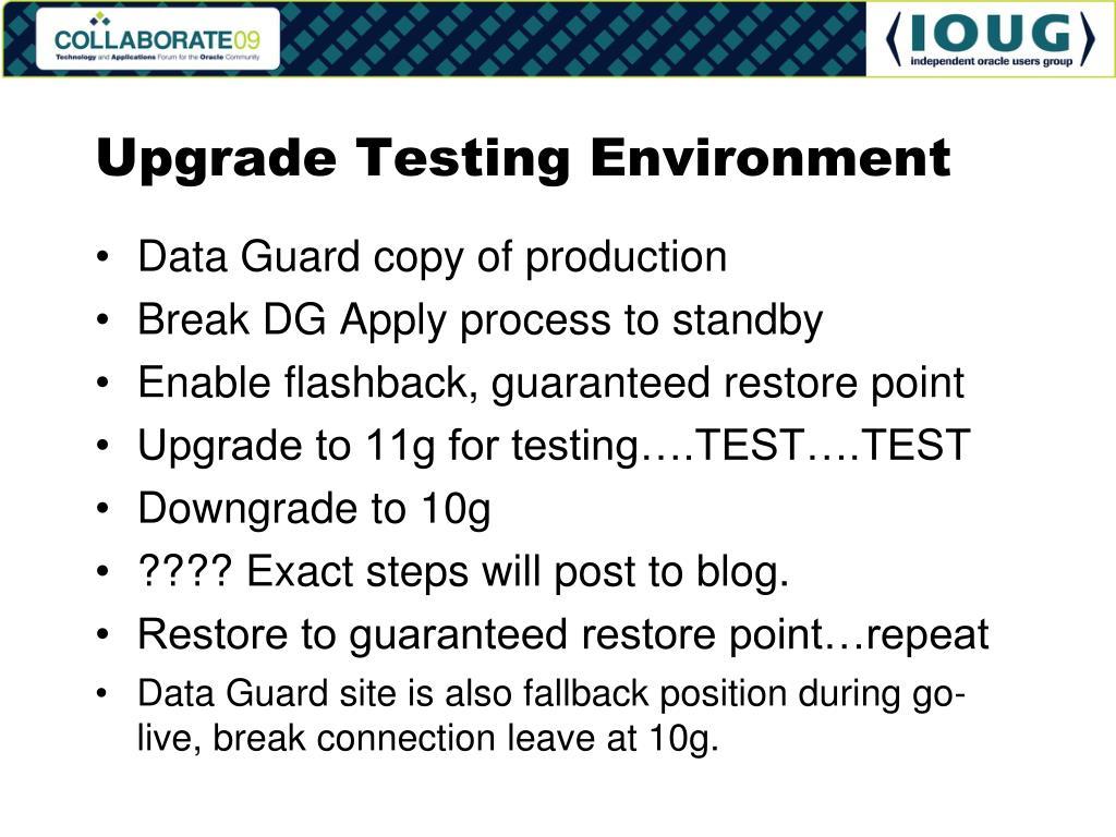 Upgrade Testing Environment