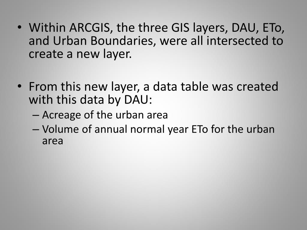 Within ARCGIS, the three GIS layers, DAU, ETo, and Urban Boundaries, were all intersected to create a new layer.