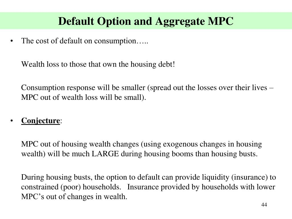 Default Option and Aggregate MPC