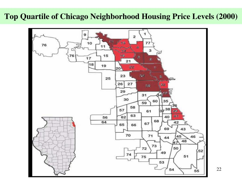 Top Quartile of Chicago Neighborhood Housing Price Levels (2000)