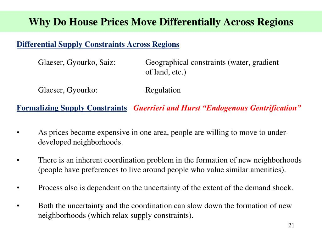 Why Do House Prices Move Differentially Across Regions
