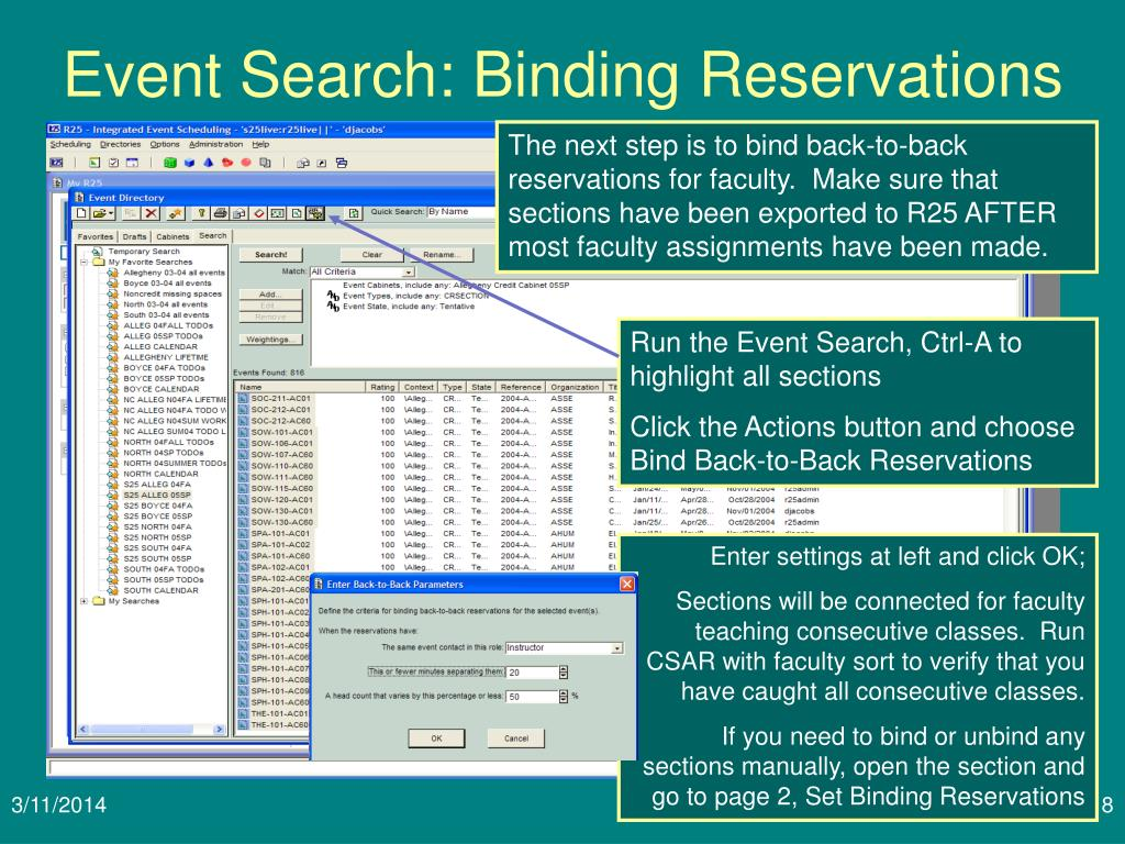 Event Search: Binding Reservations