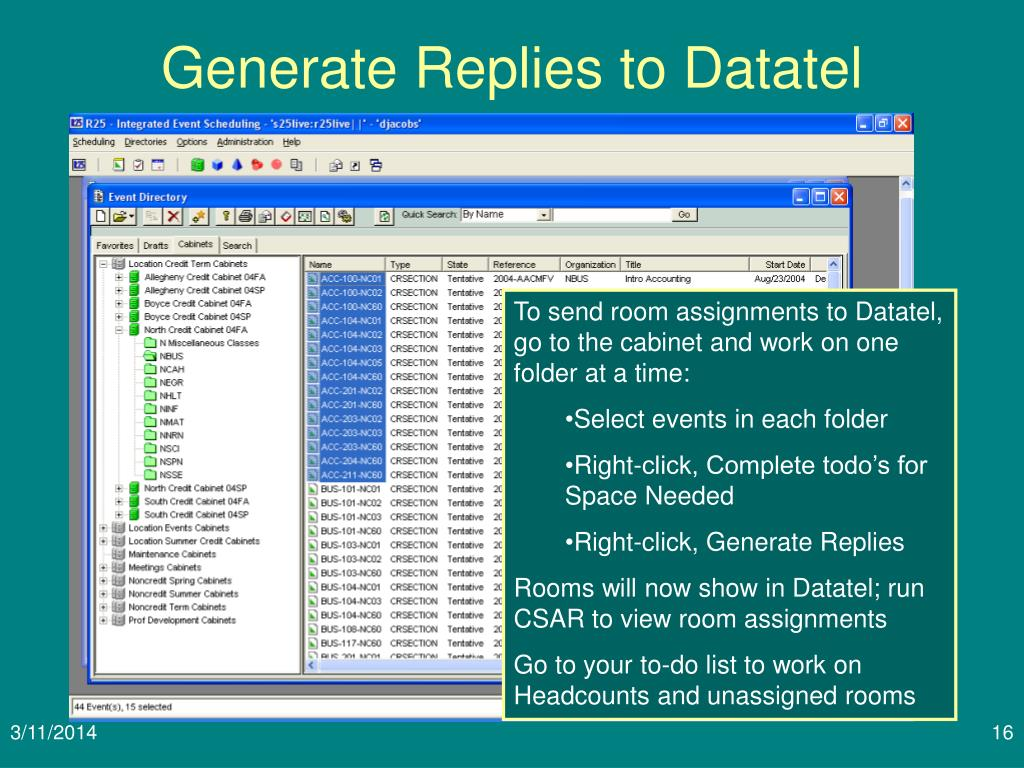 Generate Replies to Datatel