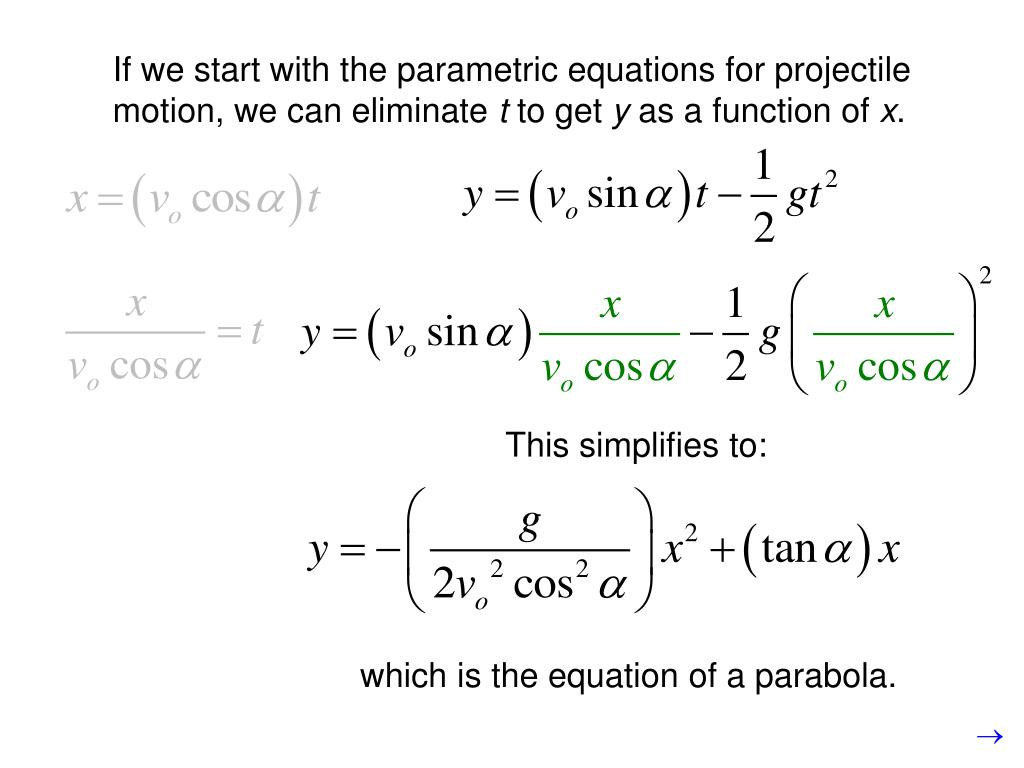 If we start with the parametric equations for projectile motion, we can eliminate