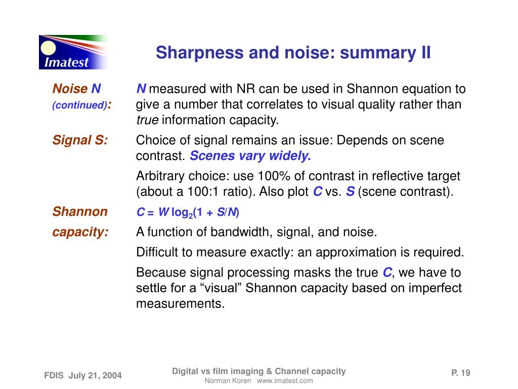 Sharpness and noise: summary II