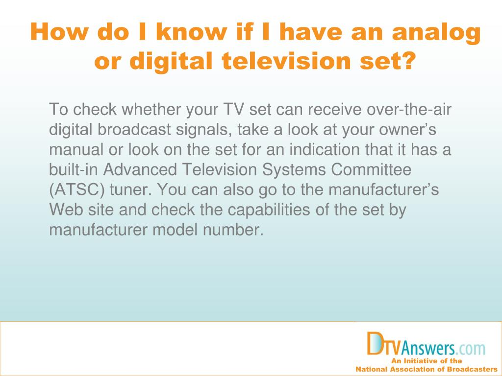 How do I know if I have an analog or digital television set?