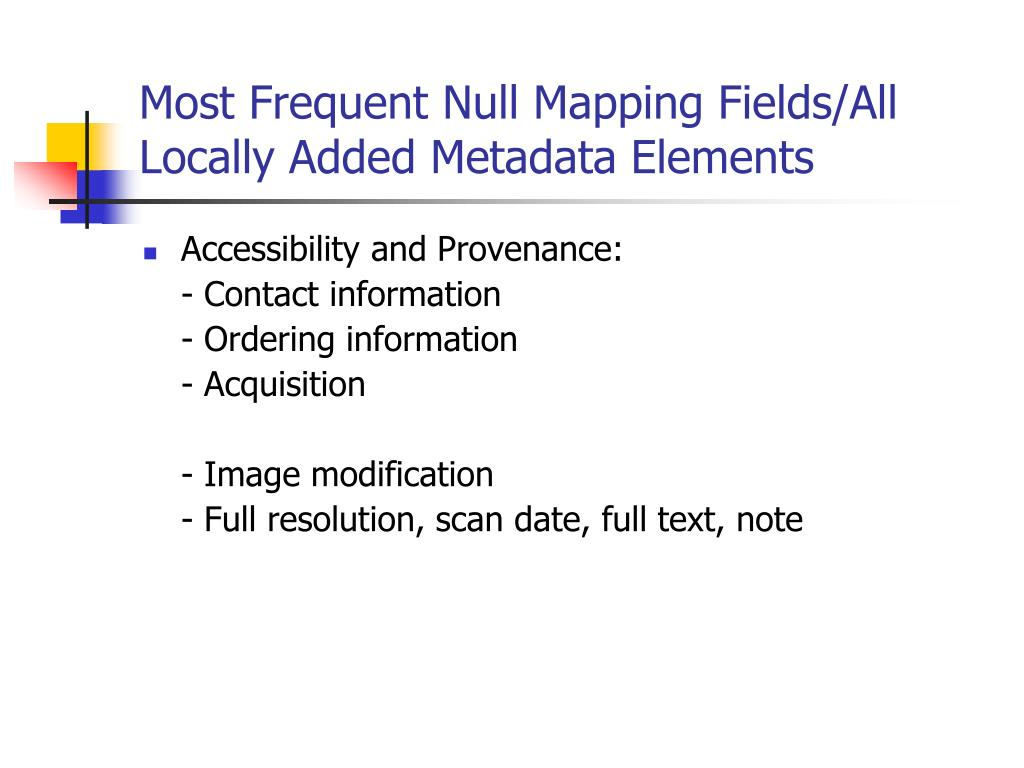 Most Frequent Null Mapping Fields/All Locally Added Metadata Elements