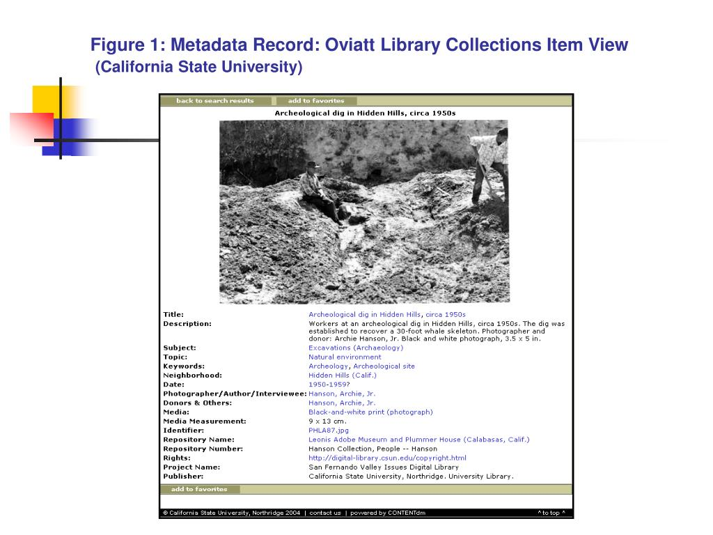 Figure 1: Metadata Record: Oviatt Library Collections Item View