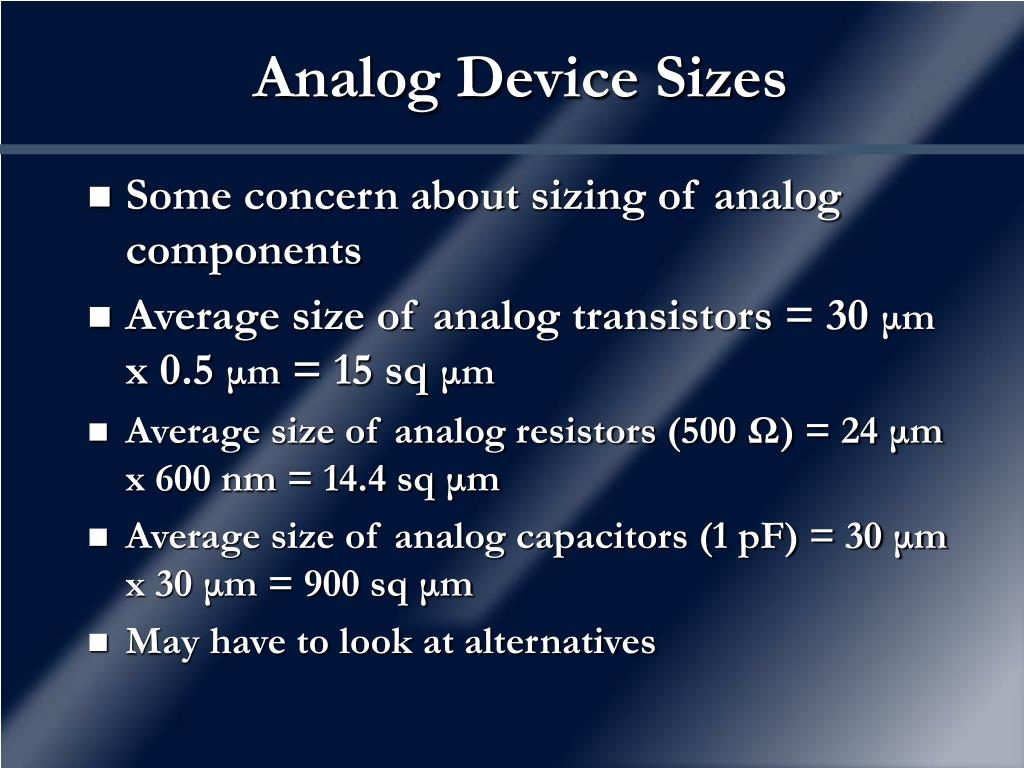 Analog Device Sizes