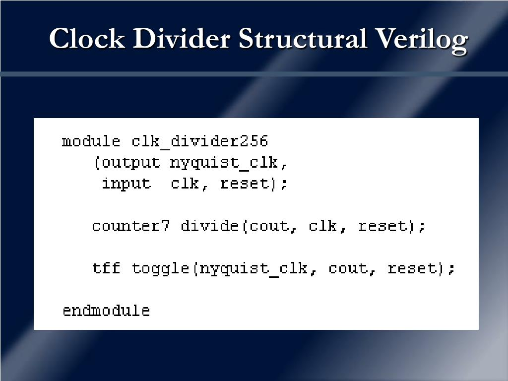 Clock Divider Structural Verilog