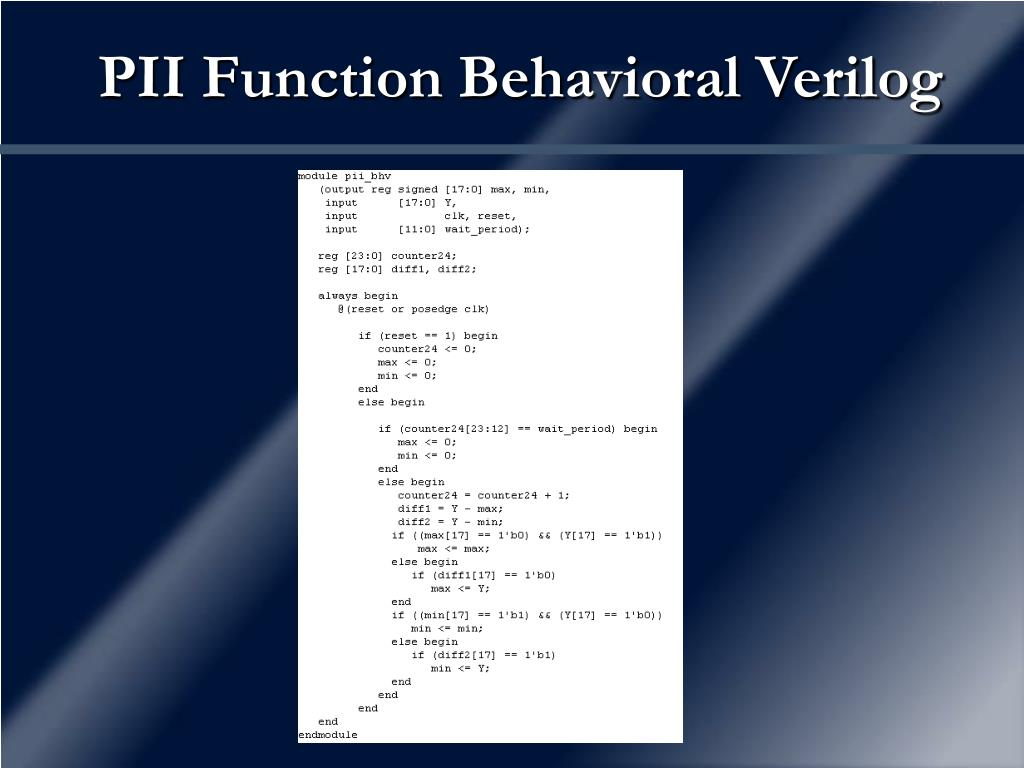 PII Function Behavioral Verilog