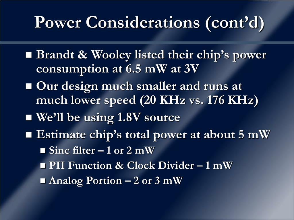 Power Considerations (cont'd)