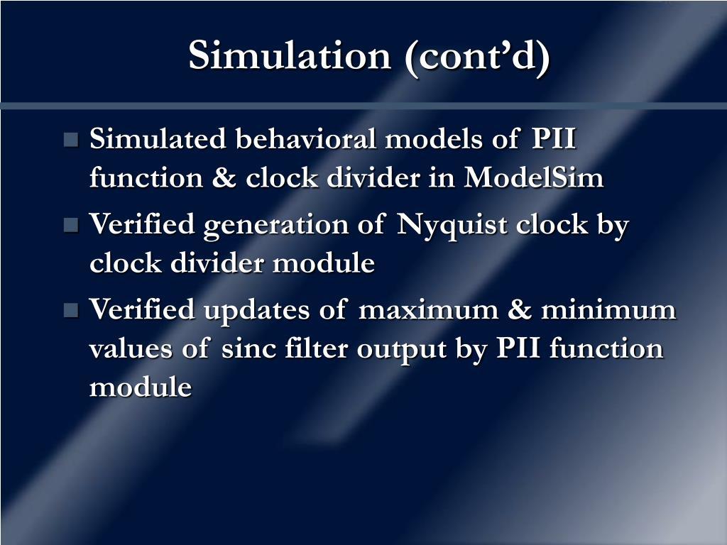Simulation (cont'd)