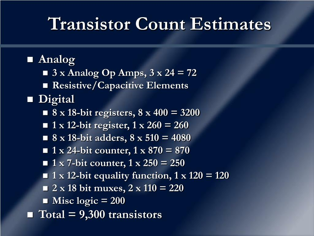 Transistor Count Estimates