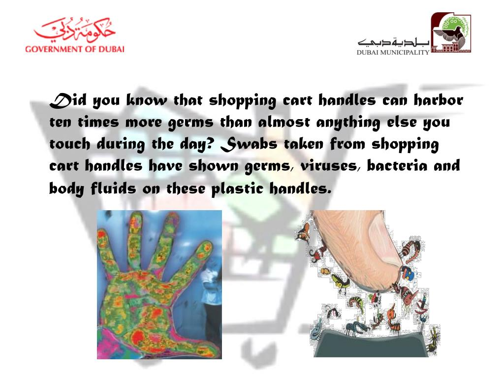 Did you know that shopping cart handles can harbor ten times more germs than almost anything else you touch during the day? Swabs taken from shopping cart handles have shown germs, viruses, bacteria and body fluids on these plastic handles.